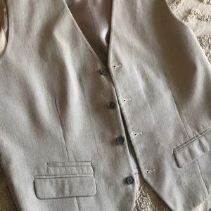 Express vest White gray large button front silver